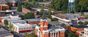 aerial view of downtown statesboro georgia